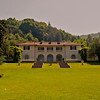 "Villa Montalvo : One day in 2003 I set off to explore one of the trails mentioned in an article in the April 2003 issue of Sunset Magazine entitled ""35 Hikes off State 35"". Surprisingly enough, even though I have been a Bay Area hiker for the last 25 plus years, I had only been on 2 or 3 of these trails. I guess having discovered Castle Rock fairly early in my tenure here I've just had a tendency to go back there when the urge to hike came over me. Anyway, I set out to explore Skyline and Sanborn trails (#35 on Sunsets list). Now I hate to admit this after living in this area for so many years, but for some reason I've always gotten confused about exactly how to get to this particular area of the Santa Cruz Mountains. True to form, I ended up heading to the wrong area. After completing a very pretty loop on Summit and Bear Creek Roads (OK, all you Bay Area people can stop laughing now) I proceeded to the correct area.  	As I was cruising down Hiway 9 headed toward my destination, I realized that I had killed over an hour on the aforementioned detour, which was going to make things a bit tight for exploring someplace new. Fortunately, I realized this right about the time I was passing Villa Montalvo. Most of my familiarity with Montalvo was as a concert venue though I have also frequently walked briefly around the grounds, which are quite interesting. I have often noted various trails on the fringes of the grounds that head into the foothills of the Santa Cruz Mountains. I decided to take the opportunity to hone my architectural photography skills on the grounds and to explore some of the trails.  	As it turns out the time I had that day (about 2 hours) was only enough to explore the grounds and the beginnings of several trails. Needless to say a return visit is necessary."